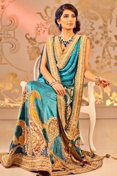 Simply stunning traditional design for a beautiful saree Satya Paul Ombre Blue Lehenga
