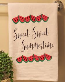 Nothing says summer like a bright red and green watermelon! Watermelons are so juicy and yummy and are the perfect posterfruit . Watermelon Patch, Watermelon Decor, Green Watermelon, Watermelon Slices, Hand Towels, Tea Towels, Dish Towels, Stacking Blocks, Summer Signs