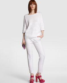 Jersey de mujer Tintoretto blanco con detalle de ochos