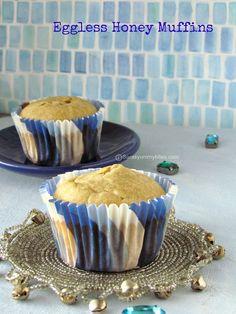 Eggless Butterless Honey Muffins