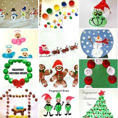 Here are a bunch of christmas fingerprint crafts for kids to make! Find the grinch, snowmen, reindeers, santa clause, and many more fun art projects!