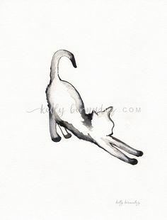 Stretching Cat watercolor print grey Cat art by kellybermudez
