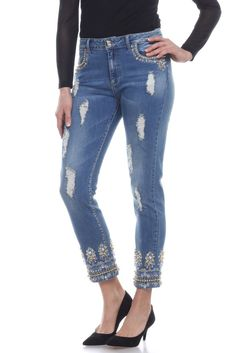 Light Blue stretch denim slim jean is embellished on the pockets and around the cuffs with an elaborate design worked in light blue jewels, clear rhinestones, gold metallic beads and embroidery. A few strategically placed frayed strips add a bit of an edge. Light Blue stretch denim fabric is 86% cotton, 12% Polyester, 2% spandex.