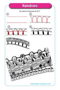 Raindrops Tangle, Zentangle Pattern by Carla Szczuka Zen Doodle Patterns, Doodle Art Designs, Mandala Pattern, Zentangle Patterns, Pattern Art, Doodle Borders, Doodle Ideas, Pattern Drawing, Mandala Design