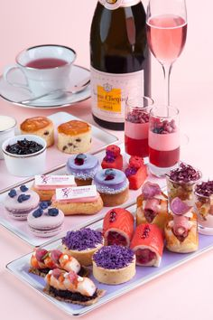 """""""Perfect in Pink and Purple"""" Afternoon Tea at The Landmark Mandarin Oriental. Champagne Veuve Clicquot Ponsardin Rose / Pink"""