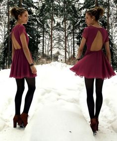 Maroon dress w/ triangle cutout, black tights and maroon booties. So cute for a little party.