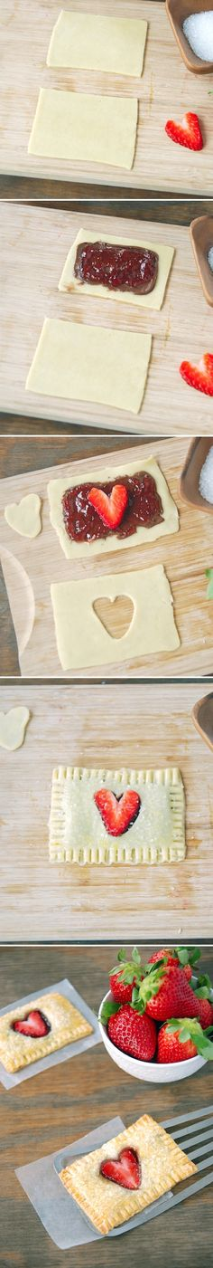 Strawberry Nutella Heart Poptarts by thenovicechef via recipebyphoto: Filled with heart shaped strawberries, made by cutting them lengthwise and Nutella! #Poptarts #Strawberry #Heart