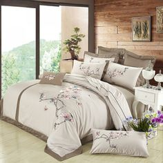 Egypt Cotton Silky Luxury Royal Bedding <font><b>set</b></font> <font><b>Queen</b></font>/King Size Embroidery Korean <font><b>Bed</b></font> <font><b>set</b></font> Duvet cover <font><b>Bed</b></font> linen Pillowcases Cheap Bedding Sets, Queen Bedding Sets, Duvet Sets, Duvet Cover Sets, Royal Bed, Embroidered Bedding, Mattress Pad, Linen Bedding, Bed Linen
