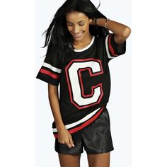 Boohoo Rebeca Varsity Airtex Basketball Tee ($8) ❤ liked on Polyvore featuring tops, t-shirts, black top, black t shirt and black tee