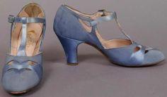 cornflower blue T-straps, 1920s.