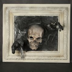 Halloween is just around the bend, but there's no time like the present to start decorating! With this time of year, it's usually the creepier, the better! Outdoor Halloween, Halloween 2018, Halloween House, Halloween Crafts, Halloween Stuff, Skull Pictures, Creepy Pictures, 3d Picture Frame, Halloween Potion Bottles
