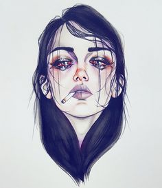 Pιnтereѕт nadynnn ❁ illustration art, drawings y sad girl dr Sad Girl Drawing, Tumblr Girl Drawing, Art And Illustration, Landscape Illustration, Girl Illustrations, Scary Paintings, Smoke Drawing, Mädchen Tattoo, Tattoos