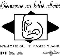 Le logo Bienvenue au bébé allaité a été élaboré en collaboration avec la Ligue La Leche, Canada. Vous pouvez l'imprimer et l'afficher pour indiquer aux mamans qui allaitent qu'elles sont les bienvenues dans votre établissement.  Pour obtenir le logo en format haute-résolution, cliquez ici ou écrivez à : DCA.public.inquiries@phac-aspc.gc.ca . L'allaitement et la nutrition du nourrisson