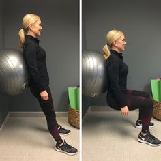 Learn how to do a stability ball wall squat.