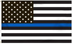 Blueline Thin Blue Line American Flag - 3 by 5 Foot Flag Honoring our Men and Women of Law Enforcement- Black, White, and Blue with Brass Grommets