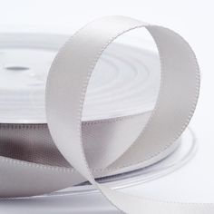 Luxury double faced satin ribbon in silver.
