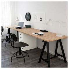 Inspiration Home Office Design Ideas. Hence, the need for home offices.Whether you are intending on adding a home office or renovating an old space into one, right here are some brilliant home office design ideas to assist you begin. Ikea Home Office, Diy Office Desk, Home Office Organization, Home Office Space, Home Office Design, Office Furniture, Home Furniture, Office Ideas, Diy Desk