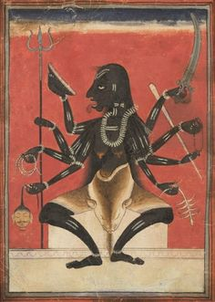Kali Pigments on paper, India, Mandi, First half of the 18th century