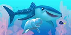 First look at the new characters from Pixar's Finding Dory Destiny (a whale shark) and Bailey (a beluga whale) will be voiced by Kaitlin Olson and Ty Burrell, respectively. Disney Pixar, Walt Disney, Disney Films, Disney Animation, Disney Magic, Disney Art, Finding Dory Whale, Disney Finding Dory, Zootopia
