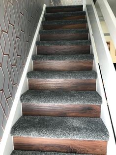 Carpet And Wood Stairs Staircase With Laminate Risers The Fmf Signature Staircase Carpet Stairs Wood Risers Painted Staircases, Painted Stairs, Wooden Stairs, Carpet And Laminate Stairs, Stairs With Carpet, Basement Carpet, Carpet Staircase, Foyer Staircase, Indoor Outdoor Carpet