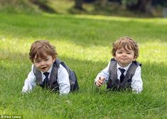OMG...OMG.....BABY GEORGE....Downton Abbey Season 4 played by twins!! Cheeky: Twins Cole (left) and Logan (right) Weston who play baby George in Downton Abbey come from the village of Meathop in Cumbria and began filming when they were just six months old