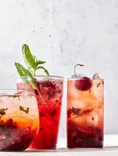Cherry-Ginger Coolers from Kate Ramos of @holajalapeno for Better Homes and Gardens July issue. Muddling cherries, fresh mint, and ginger together releases and blends their juices into a refreshing mixer. For an afternoon sipper, top it off with iced green tea. When happy hour arrives, pour in a splash of Aperol to make a spritz or vodka for an updated Moscow mule. #cherries #cherryrecipes #cocktail #mocktail