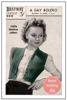 ON SALE 1940s Wartime Sleeveless Bolero Knitting Pattern