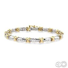 1 Ctw 'X' Shape Round Cut Diamond Tennis Bracelet in 14K White and Yellow Gold