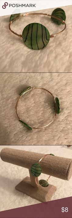 Green striped jewels gold stackable bangle This is a top seller with my customers. It stacks beautifully with other bangles and adds a funky  yet sweet flair to a set! hand-crafted Jewelry Bracelets