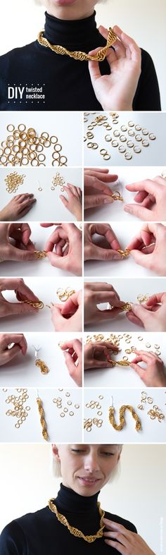 A beautiful DIY necklace made with many (MANY!) jump rings.