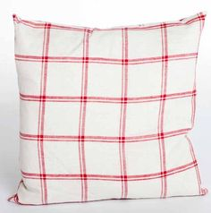 Red Linen Double Check Cushion - - Hicks and Hicks Checked Cushions, Diaper Bag, Throw Pillows, Red, Bags, Handbags, Toss Pillows, Cushions, Diaper Bags