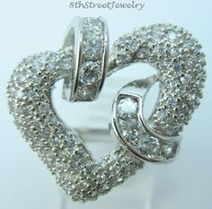 New w/o tags Unusual Sterling Silver 925 Heart & Ribbons CZ Ring Size 6 #GM #Cluster