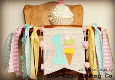 ICE CREAM CONE Birthday High Chair Highchair Banner Party Photo Prop  Bunting Backdrop Cake Smash Sweet Shop One First Fabric Onederland