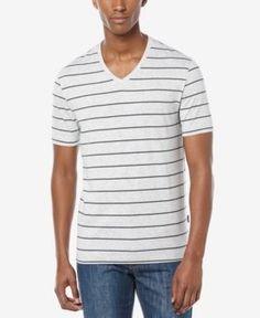 Perry Ellis Men's Wide-Stripe V-Neck T-Shirt  - Gray S