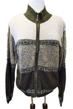 Dressbarn Womens L Zip Front Sweater Regular Fit Cotton Blend LS Borders  Green  3dbf56359