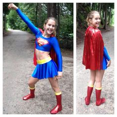 Caroline made this Super Girl costume with the following Jalie patterns: modified 2792 for the top, 3457 for the skirt and 2685 for the boots.