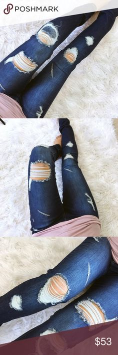 Medium dark patch destroyed skinny denim My new favs! Love the dark wash with the fading and perfectly placed destruction. These also have the cutest 'patch' look to one knee. Midrise for great tummy control. Amazing stretch and fit!  _Boutique Brand _My Stats- 5', 106lbs 34-26-36 _Modeling Size- 1 _Prices are Firm. _Material- cotton, poly, spandex _Fit- great stretch. True to size, you may size down if your size is sold Jeans Skinny