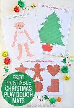 Free printable Christmas play dough mats!