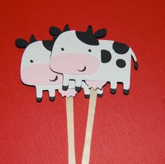 Cute!! Cow Cupcake Toppers by littlechicklets on Etsy, $9.00