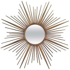 Large French Chaty Vallauris Sunburst Starburt Wall Mirror 1950s | From a unique collection of antique and modern wall mirrors at http://www.1stdibs.com/furniture/mirrors/wall-mirrors/