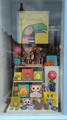 Our new window, with ChunkiChilli puppets and soft toys, Jane Foster's books, Best Years Ltd soft toys and Mibo books and bags