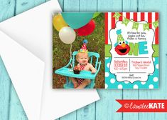 Elmo 1st or 2nd Birthday Party printable invitation file - personalized for you - printed also available - red, lime green, aqua blue, Sesame Street Party themes, Elmo ideas - boys birthday - digital file - diy - etsy.com