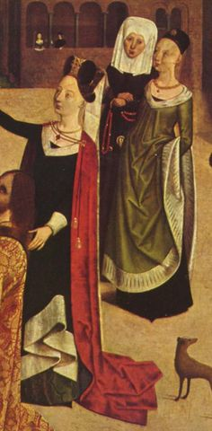 Duits, 1480-1485 V-neck gown, unbelted and being worn with a cloak.