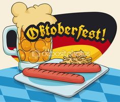 Wurstel or Viena Sausage and Frothy Beer Snack for Oktoberfest, Vector Illustration — Stock Illustration Vienna Sausage, Beer, Snacks, Illustration, Fun, Oktoberfest, Root Beer, Ale, Appetizers
