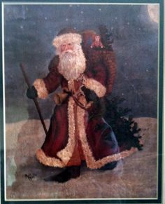 Old World Santa Print Picture Green Frame Matted 8 x 10 Image 15.5 x 13.5 Frame #Unbranded