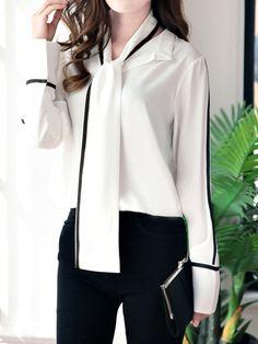 2d163b32365 Tie Collar Contrast Piping Long Sleeve Shirt Women Blouse Shirt Blouses