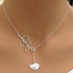 galho de árvore deixa de prata colar de pingente de pássaro para mulheres