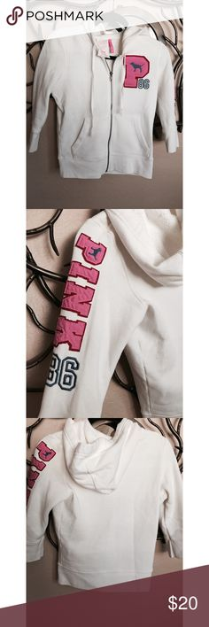 PINK VS 🎀 varsity 3/4 sweater White 3/4 PINK VS varsity hoodie sweater. Zip up, two pockets.40% cotton, 60% polyester warm interior. PINK Victoria's Secret Sweaters