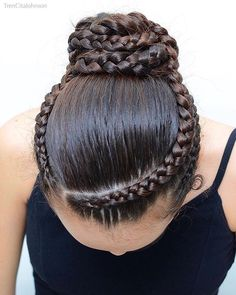 BALLET BUN for dancing class. We did this style middle of December. Hope you like the three dutch braids combined into a bun! Ballet Hairstyles, African Braids Hairstyles, Girl Hairstyles, Braided Hairstyles, School Hairstyles, Braided Ponytail, Updo Hairstyle, Everyday Hairstyles, Gymnastics Hairstyles