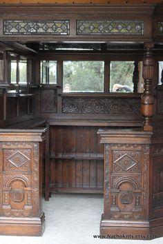 Reminds me of Shaun of The Dead Pub. lol English Corner Pub Antique Wood Glass Mirrors by Nachokitty, $10500.00